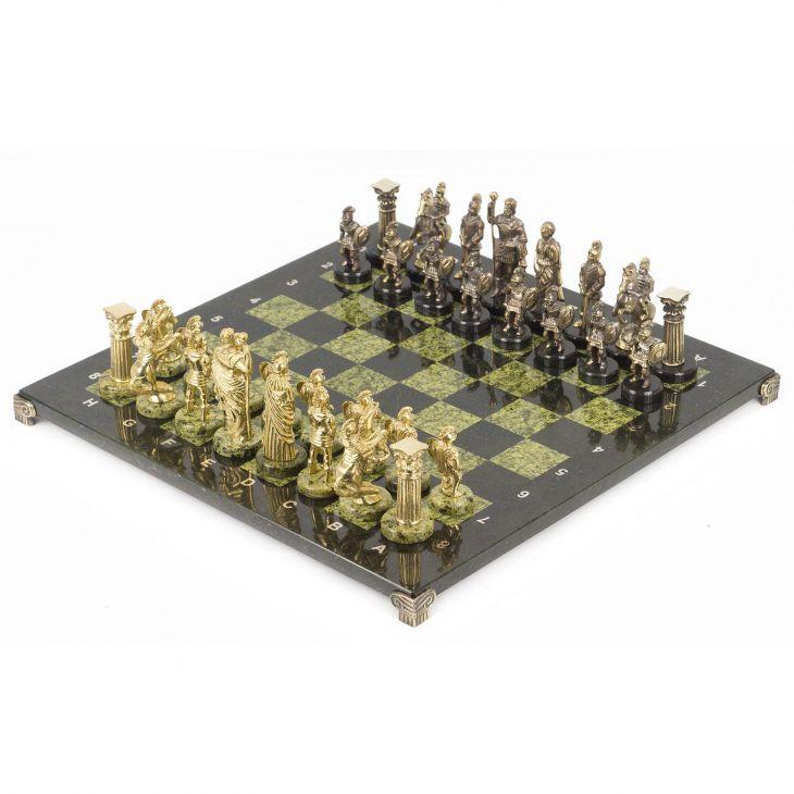 Шахматы Римляне, доска змеевик 44 х44 см