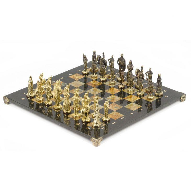 Шахматы Русские бронза офиокальцит 40 х40 см