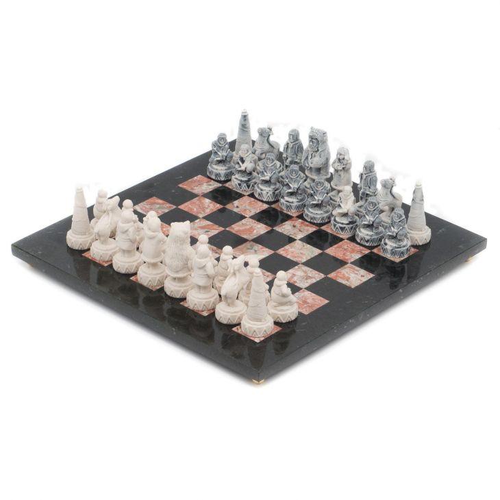 Шахматы Северные народы, доска креноид, змеевик