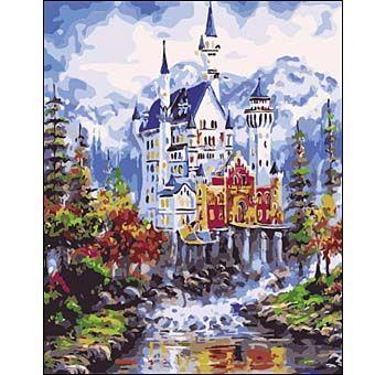 Роспись по холсту Величественный замок 40х50см
